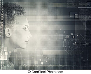 Techno female portrait Science and technology concept