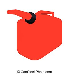 Red gas can icon, cartoon style - Red gas can icon in...