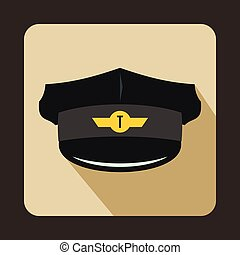 Cap taxi driver icon, flat style - Cap taxi driver icon in...