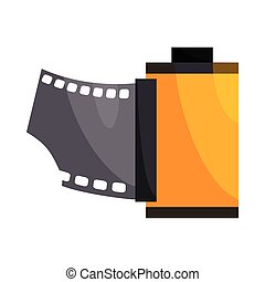 Camera film roll icon, cartoon style - Camera film roll icon...