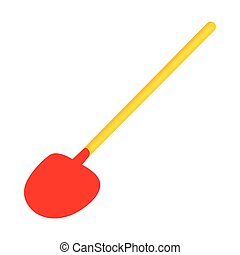 Red shovel icon in cartoon style on a white background