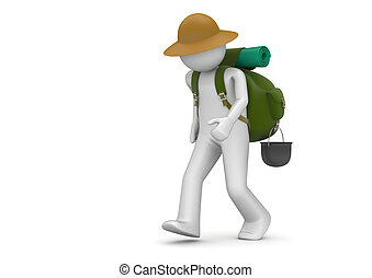 Travel collection - Camper - 3d characters isolated on white...