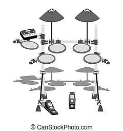Electric drum kit - Illustration of electric drum kit with a...