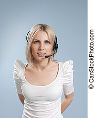 Business collection - Sexy call center operator isolated