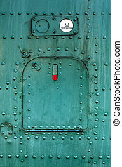 Old green painted aircraft hatch - Old green painted...