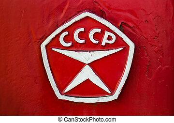 URSS, rouges, voiture, étiquette, fin, haut.,