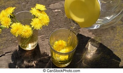 Pouring water into a glass with dandelions