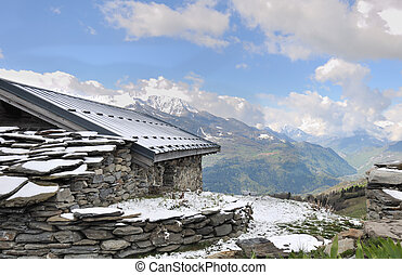 chalet in mountain - chalet in stone with panoramic view on...