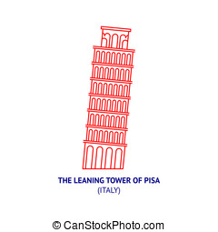 Leaning Tower of Pisa in Italy, thin icon
