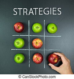Strategies concept with tic tac toe game - Strategies...