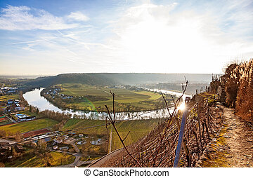 River Neckar - loop in Hessigheim - panorama - Hessigheim,...