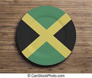 placa, en, tabla, con, jamaica, bandera,