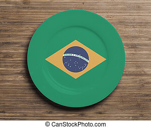 Plate on table with Brazil flag - Plate on table with...