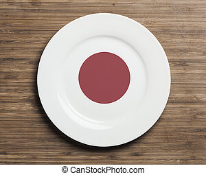 Plate on table with Japan flag - Plate on table with overlay...