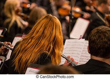 Symphony orchestra on stage.