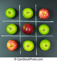 Tic tac toe game with apples - Tic tac toe game using apples...