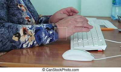 Old woman using computer full hd footage