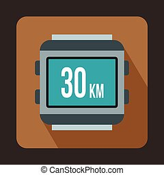 Speedometer bike icon, flat style - Speedometer bike icon in...