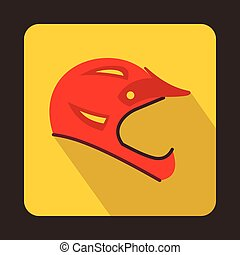 Red bicycle helmet icon, flat style