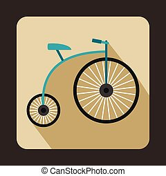 Penny-farthing icon, flat style - Penny-farthing icon in...