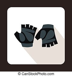 Cycling gloves icon, flat style - Cycling gloves icon in...