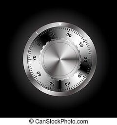 safe combination lock on a dark background