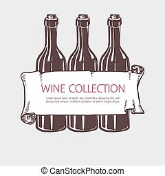 Wine bottle collection with banner. Vector handdrawn sketch...