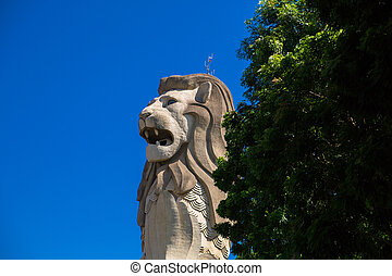 The Merlion Statue on Sentosa Island. It is a famous place...