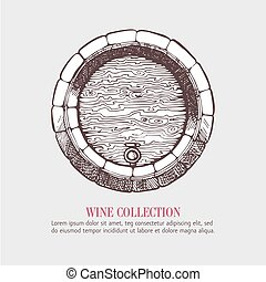 Wine or beer wood barrel Handdrawn vector sketch template...