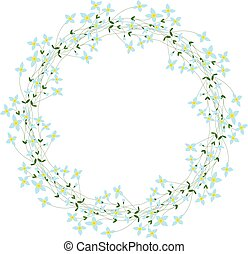 Floral wreath - Illustration of wreath made of bluet flowers
