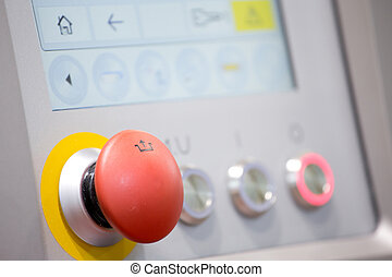 Control panel in food industry machine - Red button and...