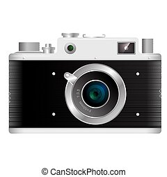 Old rangefinder film camera on a white background with...