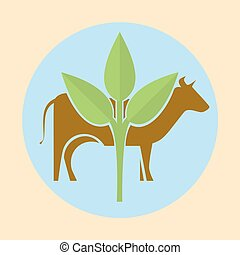 Cow silhouette and green leaves - Icon silhouette of a cow...