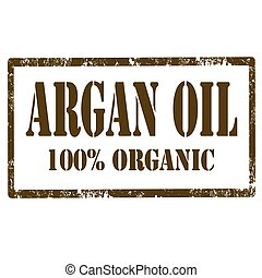 Argan Oil-stamp - Grunge rubber stamp with text Argan...