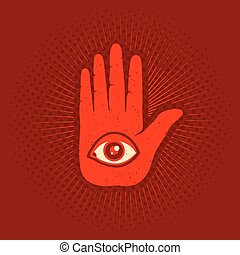 hand and eye - Vintage vector poster with hand and eye