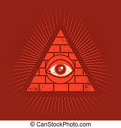 pyramid and eye - Vintage vector poster with pyramid and eye