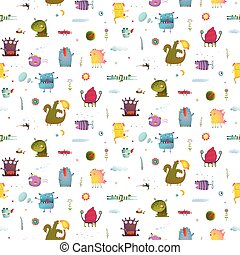 Monsters for Kids Design seamless pattern background -...