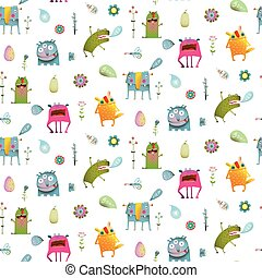 Seamless pattern cartoon monster background for children -...