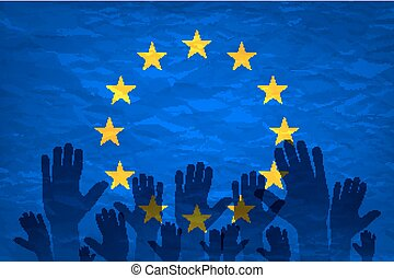 European union flag. euro vote flag. vote for the European...