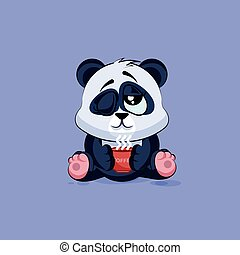 Illustration isolated Emoji character cartoon Panda just woke up with cup of coffee sticker emoticon
