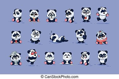 Illustrations isolated Emoji character cartoon Panda...
