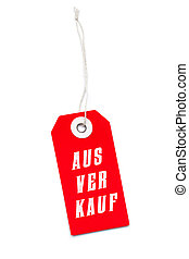Red sales label tag with German message