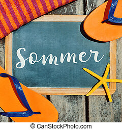 flip-flops, starfish and text sommer, summer in German -...