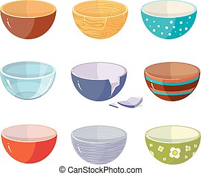 Vector set of empty soup plates with different texture