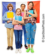 Whole-length picture of kids against French flag -...