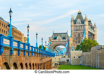 Tower Bridge in London from the north bank of river thames