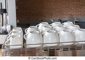 Empty coffee cup on coffee machine . - Empty coffee cup on...