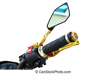handle and rear view mirror of motorcycle. - Closeup to...