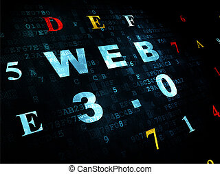 Web design concept: Web 3.0 on Digital background - Web...