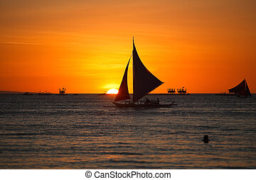 Sunset - Sailboats against beautiful sunset in Boracay...